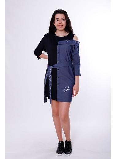 Clıche Yazı Detaylı Düşük Omuzlu Kemerli Vizon Elbise Lacivert